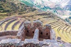 Ruinas Incan y terrazas Foto de archivo