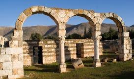 Ruinas islámicas en Anjar Líbano Foto de archivo