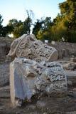 Ruinas que visitan de la clase de la arqueología de la ciudad antigua y bíblica de Ashkelon en Israel, Tierra Santa fotos de archivo