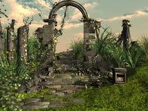 Ruinas redondas del templo de Sarmisegetuza Regia Imagenes de archivo