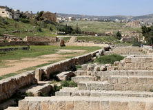 Ruinas romanas en la ciudad jordana de Jerash (Gerasa de la antigüedad), Jordania Fotos de archivo libres de regalías