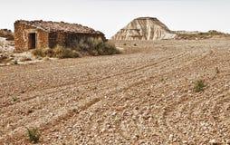 Ruinas tradicionales de la casa, Bardenas Reales Foto de archivo libre de regalías