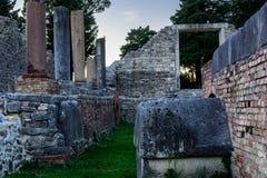 Ruinas viejas de Salona en el suburbio de la fractura, Croacia Imagen de archivo