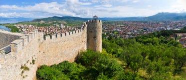 Ruinas viejas del castillo en Ohrid, Macedonia Imagen de archivo