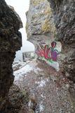 Ruinas viejas del fuerte de la guerra en la playa Foto de archivo libre de regalías