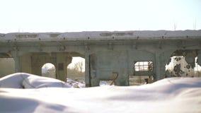 Ruinas viejas en el fondo de la ciudad en tiempo soleado almacen de metraje de vídeo
