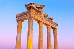 Ruinas viejas en la cara, Turquía en la puesta del sol Foto de archivo