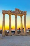 Ruinas viejas en la cara, Turquía en la puesta del sol Imágenes de archivo libres de regalías
