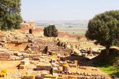 Ruinas y alminar, Rabat, Marruecos de Chellah foto de archivo
