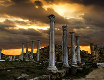 Ruinas y columnas antiguas en la ciudad antigua de salamis en Fama Fotografía de archivo libre de regalías