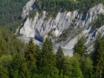 Ruinaulta or Rhine canyon or grand canyon. The mountains around Ruinaulta a canyon in Eastern Switzerland stock photography