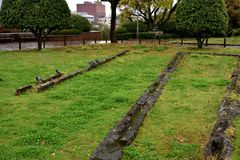 Ruine atomique de bombardement en parc de paix de Nagasaki, Japon Photos stock
