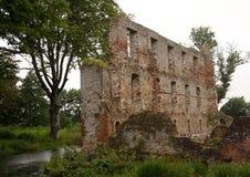 Ruine de château de Trojborg près de Tonder, Danemark Photographie stock libre de droits