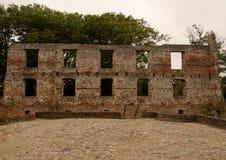 Ruine de château de Trojborg près de Tonder, Danemark Photo stock