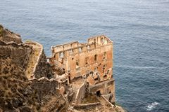 Ruine de Los Realejos sur la falaise de Ténérife, Espagne Photo libre de droits