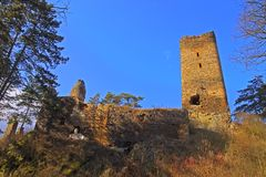 Ruine des Schlosses Libstein Stockfotos