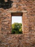 Ruine und alte orange Backsteinmauer mit einer Fensteransicht zum tre Lizenzfreie Stockbilder
