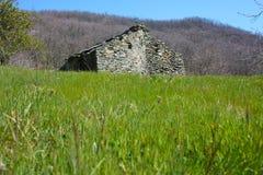 Ruine zerstört ein altes Haus errichtet von den Steinen verlassen in einer grünen Reinigung, mitten in der Beschaffenheit des Par stockbilder