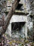 Ruined放弃了有树的石房子 免版税库存照片
