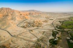 Ruined破庙,帝王谷埃及鸟瞰图Th的 库存照片