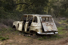 Ruined abandoned car in a forest Royalty Free Stock Image