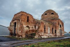 Ruined abandoned Church of the Intercession of the Blessed Virgin Mary. In Lipovka, Voronezh region Stock Images