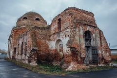 Ruined abandoned Church of the Intercession of the Blessed Virgin Mary. In Lipovka, Voronezh region Royalty Free Stock Image
