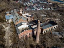 Free Ruined Abandoned Factory, Aerial View Stock Images - 144355154
