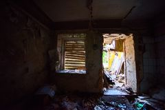 Ruined abandoned house. From the inside Stock Image