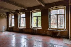 Room in a ruined house. Ruined abandoned room in a house requiring major repairs Royalty Free Stock Photo