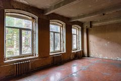 Room in a ruined house. Ruined abandoned room in a house requiring major repairs Stock Photography