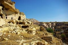 A ruined ancient dwellings. In the vicinity of the castle the Tchoovash, Cappadocia, Turkey Royalty Free Stock Images