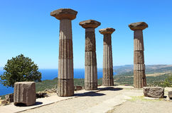Ruined Athena Temple in Assos Stock Images