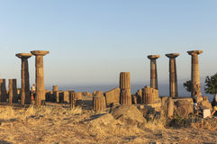 Ruined Athena Temple in Assos Royalty Free Stock Image