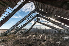 Ruined barn house, broken roof Royalty Free Stock Images