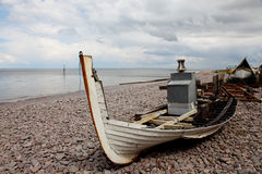 Ruined Boat on Beach Royalty Free Stock Photos