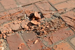 Ruined brick floor Stock Photo