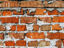 Ruined brick wall. In an abandoned place Stock Photo