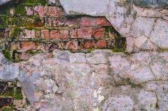 Ruined brick wall background Stock Photo