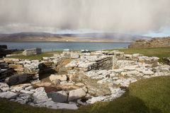 Ruined Broch remains on Orkney. Broch of Gurness. Ancient settlement on Orkney's mainaland Royalty Free Stock Photos