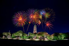 Ruined Buddhist temple with fireworks Stock Photos