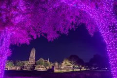 Ruined Buddhist temple in night scene Royalty Free Stock Photo