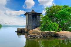 Ruined Buddhist temple on  small island Royalty Free Stock Photography