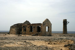 Ruined building. Old and weatherd ruined building on bonaire near the sea Stock Photo