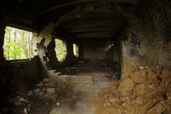 Ruined building. Ancient abandoned building in forest Stock Photo