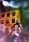 Ruined Building And 3d Witch Royalty Free Stock Images