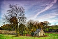 The ruined building in a beautiful surroundings stock image