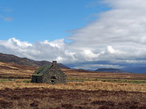 Ruined building in Glen Banchor, Scotland in spring Royalty Free Stock Photo