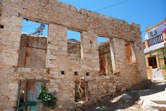Ruined building, Halki island Royalty Free Stock Photo