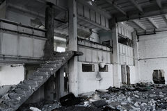 Ruined building interior. Abandon space Stock Images